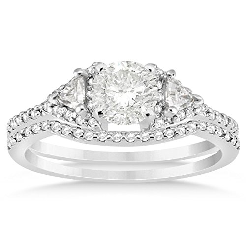 - (0.39ct) 18k White Gold Diamond Accented Halo Trilliant Cut Bridal Set Setting