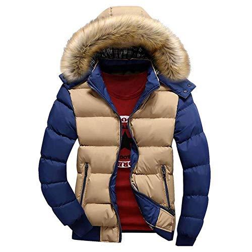 Adelina Winter Warm Thick Hooded Zipper Jacket Down Manly Coat Long Slim Fit Sleeve Rv Side Pockets Down Coat Coats Khkai/Blau