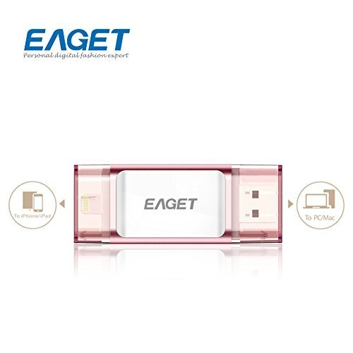 Eaget I60 OTG USB 3.0 Mobile Flash Drive with Lightning Connector For iPhones, iPads & Computers,128G,Rose (Photo Storage Devices)