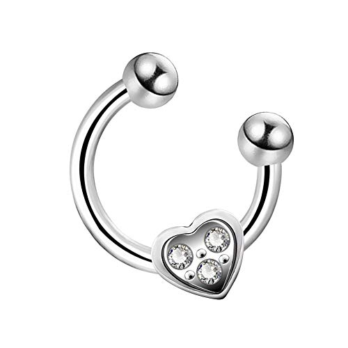 OUFER 16G 316L Surgical Steel Horseshoe Circular Barbell Cartilage Earring with Gemmed Heart Helix Earrings