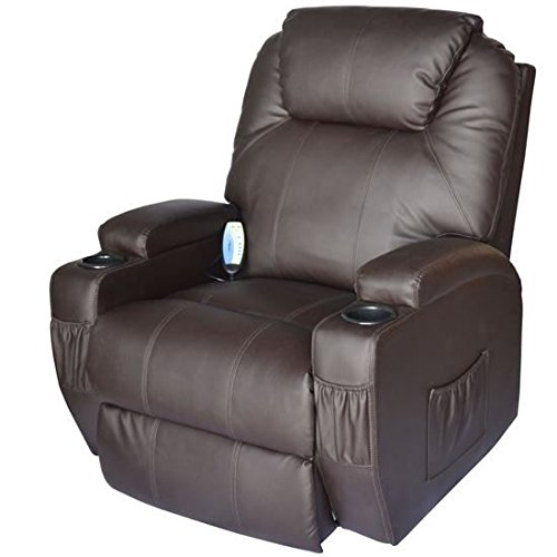 Deluxe Heated Vibrating PU Leather Massage Recliner Chair, Brown