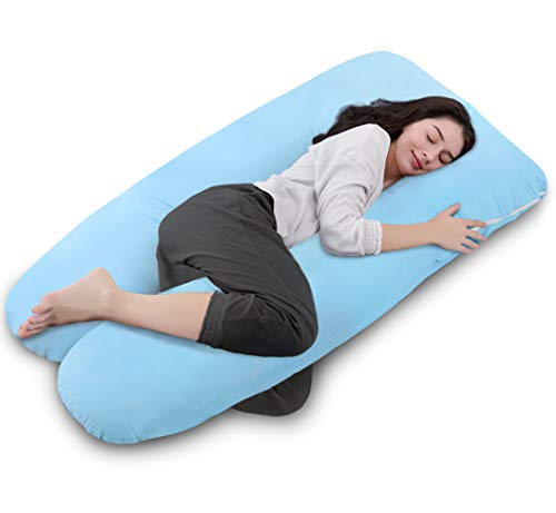 Queen Rose 55-inch Pregnancy Pillow U Shaped for Back Pain,with Zipper Removable Cover(blue)