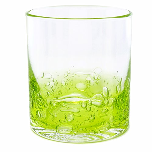 NÄU Zone Jovian Collection Cocktail Glasses Set of 4: Beautiful Hand-Blown 12-oz Rocks Glasses - Perfect for Whiskey, Bourbon, Scotch, or Any Mixed Drink - [GREEN]