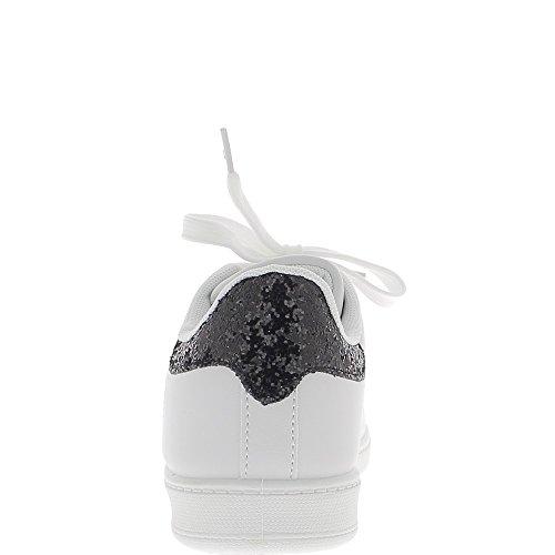 Baskets plates vlle femme blanches arrière paillettes noires