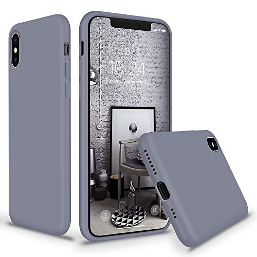 SURPHY Silicone Case for iPhone X iPhone Xs Case, Slim Liquid Silicone Protective Phone Case Cover (Full Body, Soft Case with Microfiber Lining) Compatible with iPhone X XS 5.8, Lavender Gray
