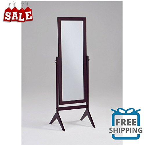 Standing Mirror Full Length Bedroom Floor Cosmetic Decorative Standing Beauty Decor Mirror Espresso Wood Sophistication Chic Style & eBook by BADA shop by BS