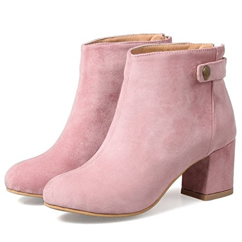 COOLCEPT Women Fashion Square Mid Heel Booties With Back Zipper Pink vhYvI
