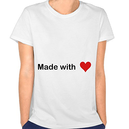 Tiqiusi Womens Tee Made With Heart Love Size S White Tee (Conversion Blend T-shirt)