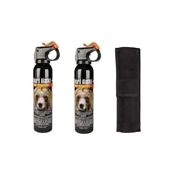 Guard Alaska Bear Spray with Nylon Holster 1 Most Effective and Powerful Bear Spray available today! Spray range of 20 feet! Works on all species of bears, Even works on Wet Bears!