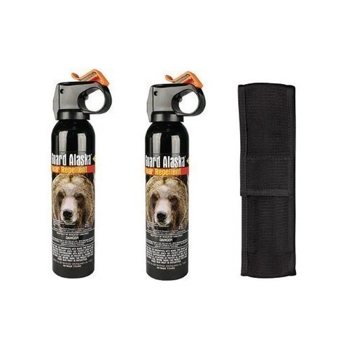 BUNDLE - 3 ITEMS - 2 Cans Guard Alaska Bear Repellant plus 1 Nylon Holster