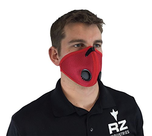 RZ Dust/Pollution Mask Bonus Pack w/5 Laboratory Tested Filters, Model M2, Mesh, Red, Size - M2 Red