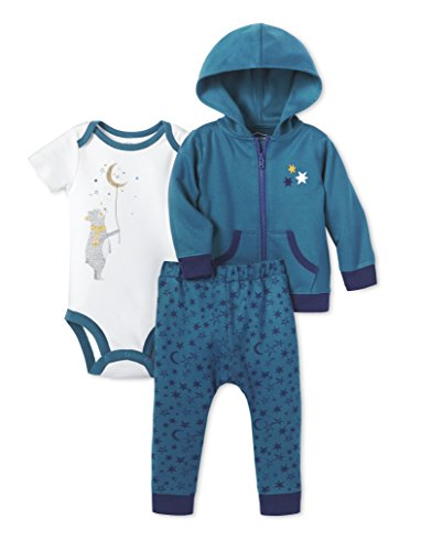 Lamaze Baby Infant Organic 3 Piece Hoodie Set, Teal, 24M