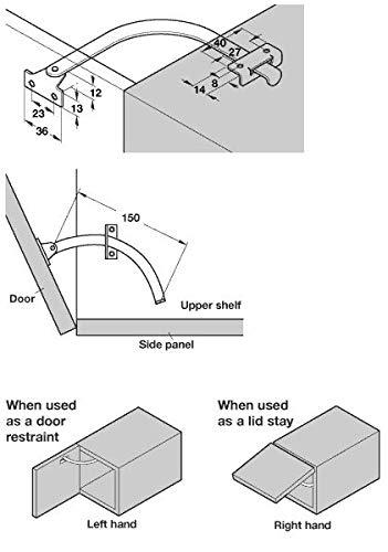 1 par de limitadores de apertura para armarios y puertas de muebles calidad de marca para tu sal/ón 150 mm de longitud GedoTec/® de acero niquelado