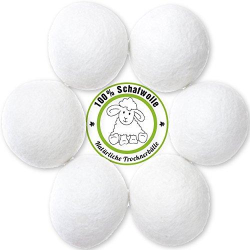 6 Stück Natürliche Trocknerbälle aus 100%iger Schafwolle   Zeit- und Kostensparend für gepflegte Wäsche und eine glückliche Umwelt   Original MountainGoods