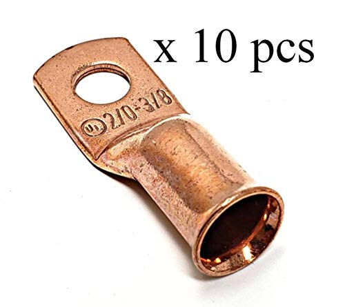 10 pcs WNI UL 2/0 Gauge x 3/8 Pure Copper Battery Welding Cable Lug Connector Ring Terminals