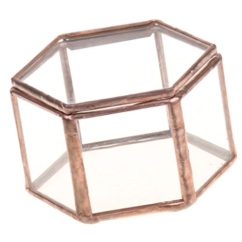 Jili Online Mini Copper Faceted Hexagonal Clear Glass Jewelry Box Tabletop Home Decoration ()