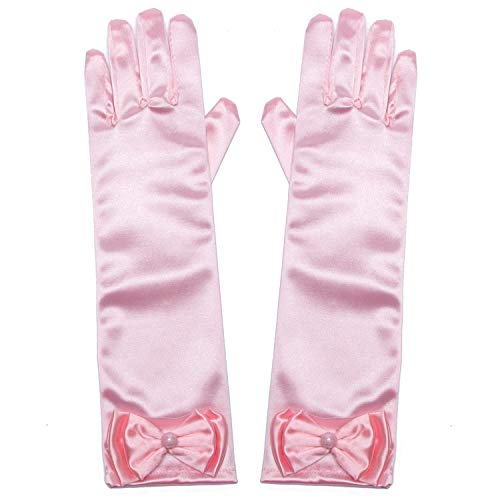 (Little Girls Princess Gloves(Solid Color Long Elbow Length) For Birthday,Wedding,Holiday,Costume Party(Pink))