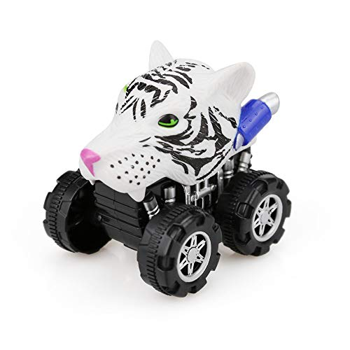 Longay Lion Friction Powered Car Pull Back Vehicle Mini Animal Car Toy for Gifts Ki (White)