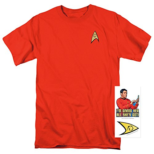 [Star Trek Engineering Uniform Shirt w/ Liquid Gold Ink & Exclusive Stickers (S)] (Star Trek Uniform Shirts)