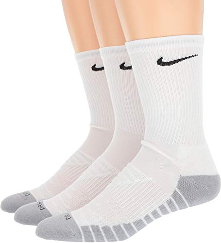 (Nike Dry Cushion Crew Training Sock (3 Pairs),White,Medium)