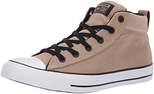 Converse Men's Unisex Chuck Taylor All Star Street Suede Mid Top Sneaker, Khaki/Black/White 10 M - Mid Converse Top Men