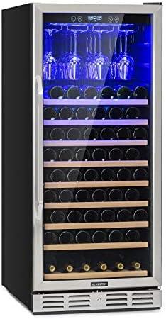 Klarstein Vinovilla 127 nevera de dos zonas, 331 litros, 127 botellas de vino, luces LED, Iluminación interior LED, 5-18 °C, 10 baldas de madera, portacopas, antivibración. Negro[Clase de eficiencia energética F]