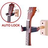 Ukulele Wall Hanger Auto Lock Safety Wooden Wall Mount Holder, Guitar hanger and Mandolin Hanger(Rosewood)