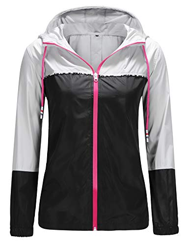 UUANG Women's Waterproof Raincoat Outdoor Hooded Rain Jacket Windbreaker (Grey/Black,M)