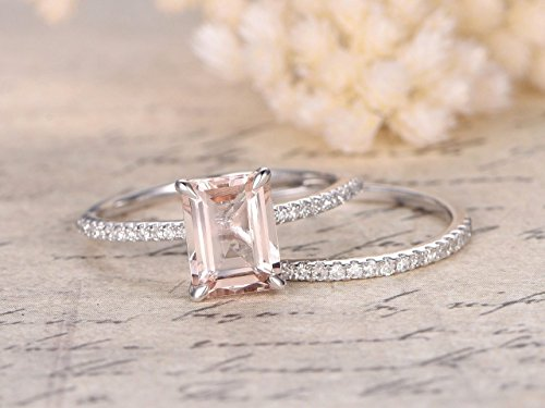 2 Carat emerald cut Morganite and Diamond Wedding Bridal Ring Set On White Gold with Engagement Ring and Matching Diamond Wedding Band