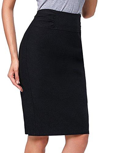 Coton Cuir Taille Crayon Femme FR268 Noir Haute Professionnelle en Jupe Kasin 601 Kate wp0WxYx