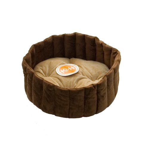 K&H Lazy Kup Pet Bed, Small 16-Inch Round, Tan/Mocha
