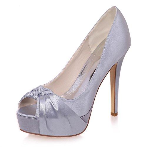 L@YC Zapatos De Boda De La Mujer Primavera Verano OtoñO Plataforma Satinado Boda Plataforma De TacóN Fino / Multicolor / De Gran TamañO Grey