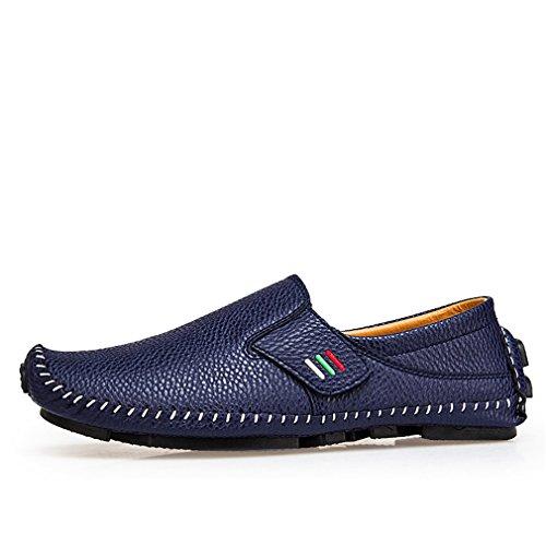 casuales conducción masculinos de cuero de hombre Bridfa hombres para mocasines Blue primavera resbalón 1 zapatos en verano aliento Zapatos 1qnxCPx64