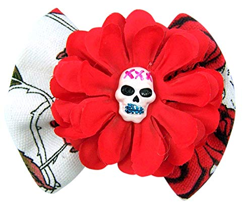 Black Red and White Floral Hair Bow Costume Accessory, 5 Inch