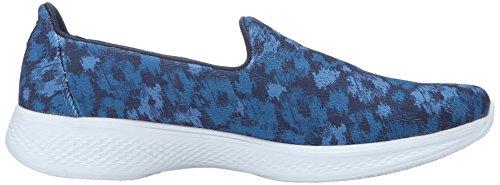 Skechers Rendimiento Go Walk 4 Electrify Flourish del zapato que camina Navy