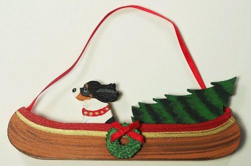 Tri-Colored Cavalier King Charles Spaniel Dog Canoe Wood Handpainted 3-Dimensional Christmas Ornament - USA made.