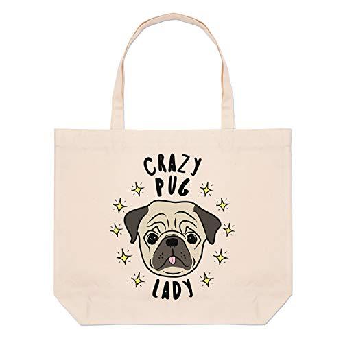 Crazy Pug Lady Stars Large Beach Tote Bag