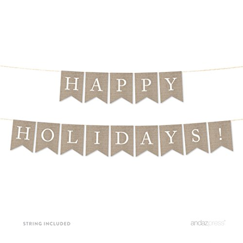 Happy Holidays Set (Andaz Press Hanging Bunting Pennant Party Banner with String, Printed Burlap, Happy Holidays!, 5-Feet, 1-Set, Includes String)