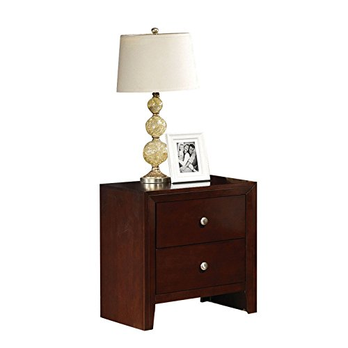 (Major-Q 9020403 Brown Cherry Finish 2-Drawer Nightstand)