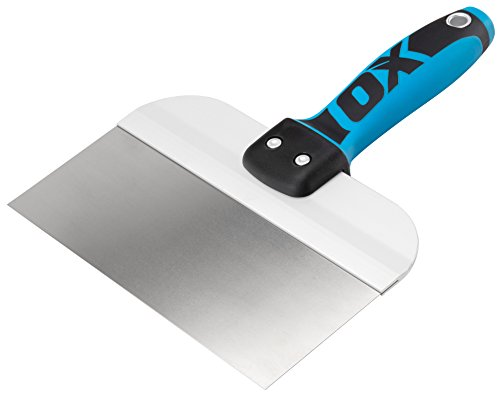 OX PRO Series Taping Knife - Stainless Steel Drywall Filling Knife with Dura Grip Soft Handle - Flexible Plastering Spatula - Spackle Tool 8 inch/200mm (Whats The Best Plastering Trowel)