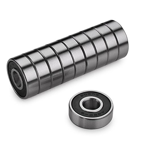 Z-FIRST Precision 608 RS ABEC 9 Bearings for Scooters,Longboards and Skateboards (Pack of 10 PCS) (Black)