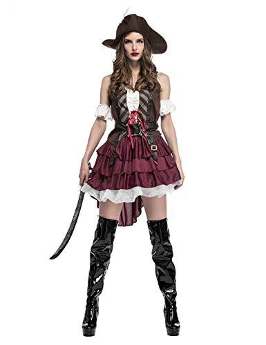 GRACIN Womens Halloween Pirate Costume Adult, Tutu Skirt Pirate Dress and Hat -