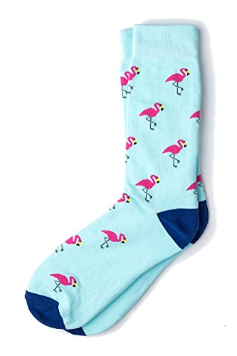 Men's Tropical Pink Flamingo Birds Novelty Crew Dress Socks (Light Blue) ()