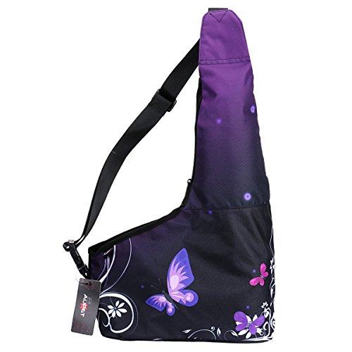 AUPET Hands-Free Pet Carrier, Comfortable Puppy Cats Small Dog Carriers Travel Bag, Oxford Outdoor Pets Carriers Sling Bag Dog Carrier with Adjustable Shoulder strap (Purple Butterfly) PetBag-005