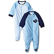 Gerber Baby Boys' 2 Pack Zip Front Sleep 'N Play, Transportation, 0-3 Months