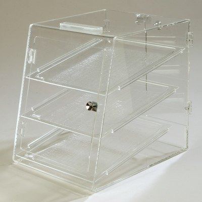Carlisle SPD30307 Three Tray Bakery Display Case, Self-Serve, 18'' Length x 14'' Width x 17.5'' Height, Clear
