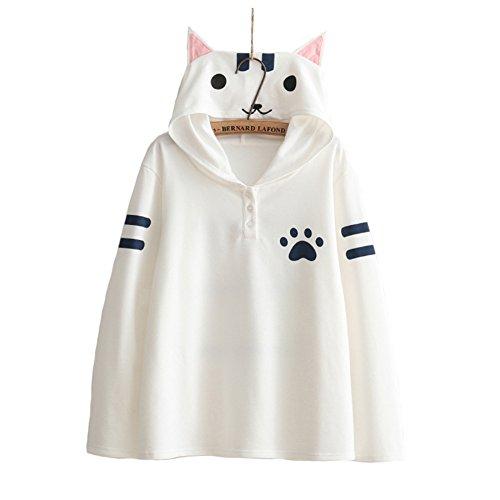 (モリマート)Morimart 森ガール レディース パーカー 長袖 ネコ プリント 猫 かわいい フード付き 猫耳 スウェット