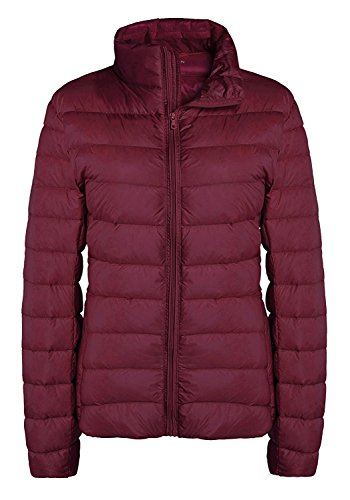 Quilted Nylon Down Jacket - ZSHOW Women's Packable Quilted Down Jackets Light Weight Down Coat, US XX-Large, Wine Red