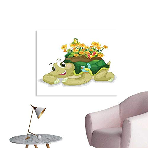 J Chief Sky Reptile Wall Decoration Funny Floral Turtle Talking with Colorful Humming Birds Tortoise Ninja Home Decoration Wallpaper Mural W28 xL20 -