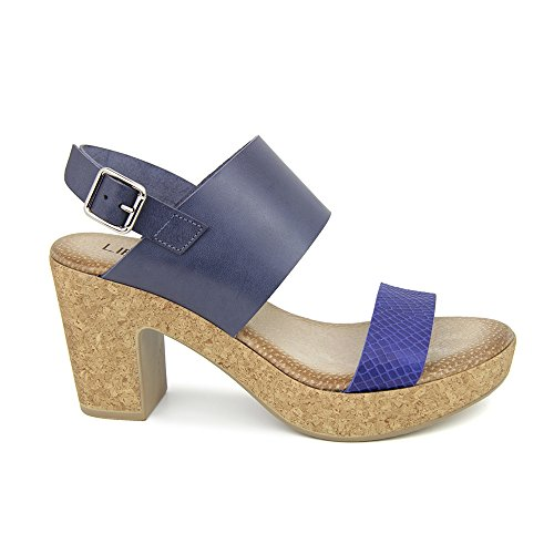 Sandalia Tacon En Piel Azul Marino Azul